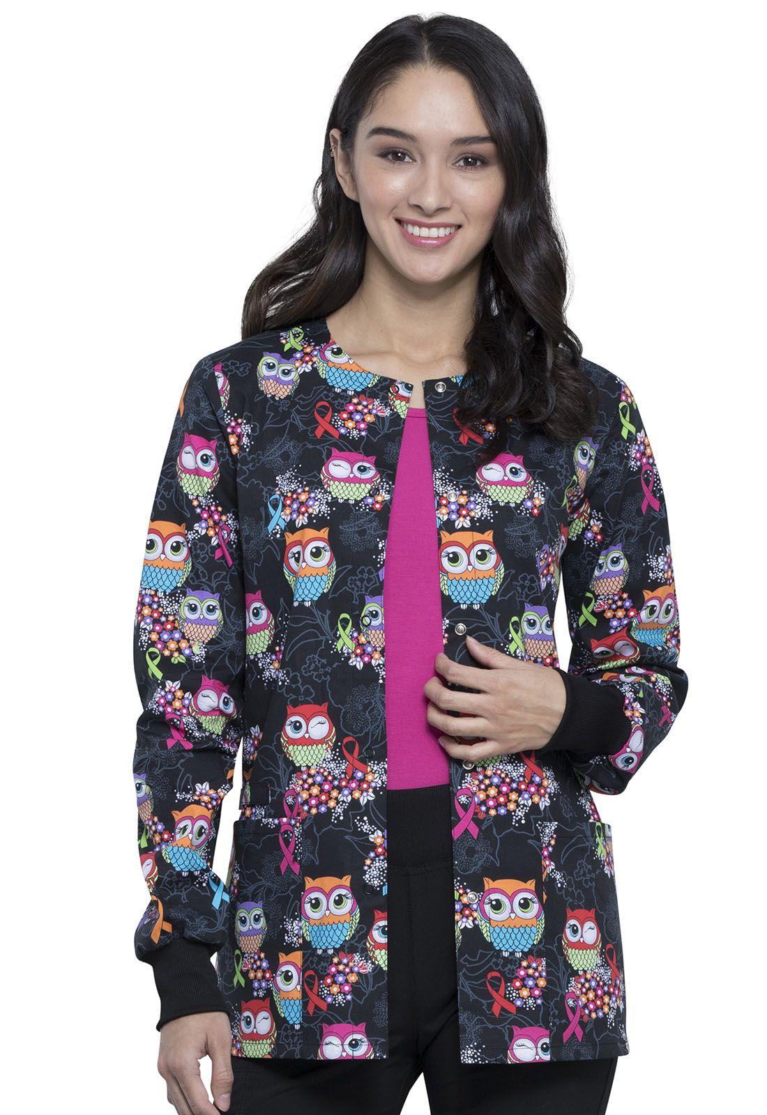 Owl Print Multi Awareness Warm Up Scrub Jacket CK301 LEGV ...