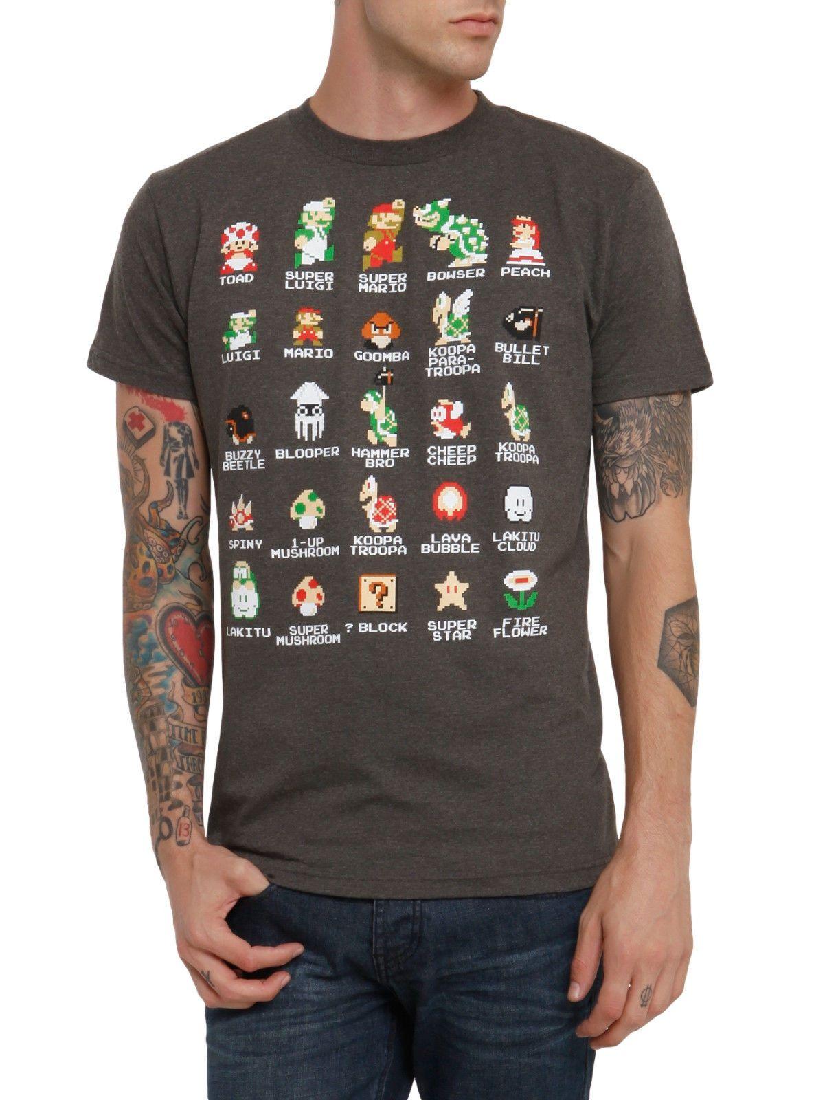 215080676 Nintendo Men's Mario Pixel Cast Charcoal Heather T-Shirt New ...