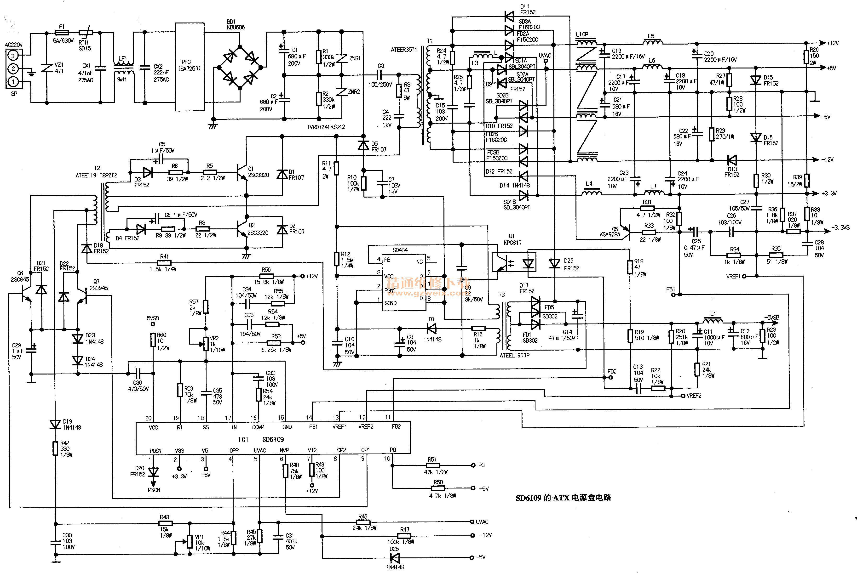 Resultado de imagem para esquema fonte atx com sd6109 (com