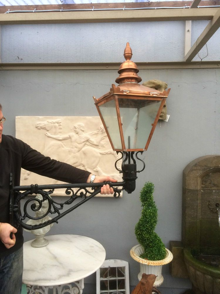 Large victorian style copper wall lantern with cast iron bracket large victorian style copper wall lantern with cast iron bracket wall light aloadofball Images