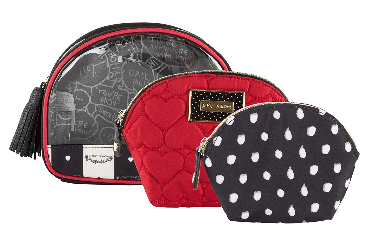 Betsey Johnson Away We Go 3 Piece Cosmetic Bag Want to