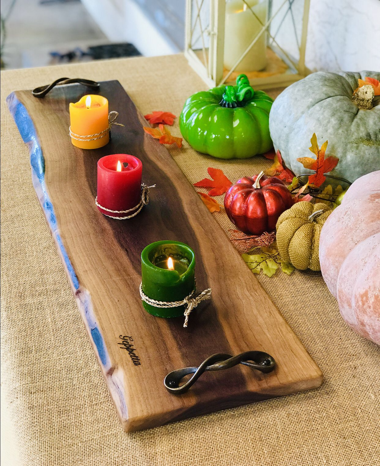 """Extra Large Charcuterie Board 21""""x13"""" Walnut with handles"""