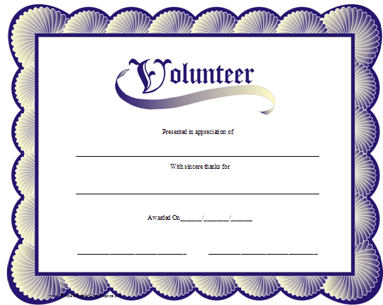 A printable volunteer certificate with a blue scalloped border a printable volunteer certificate with a blue scalloped border reminiscent of seashells free to download and print yelopaper Image collections