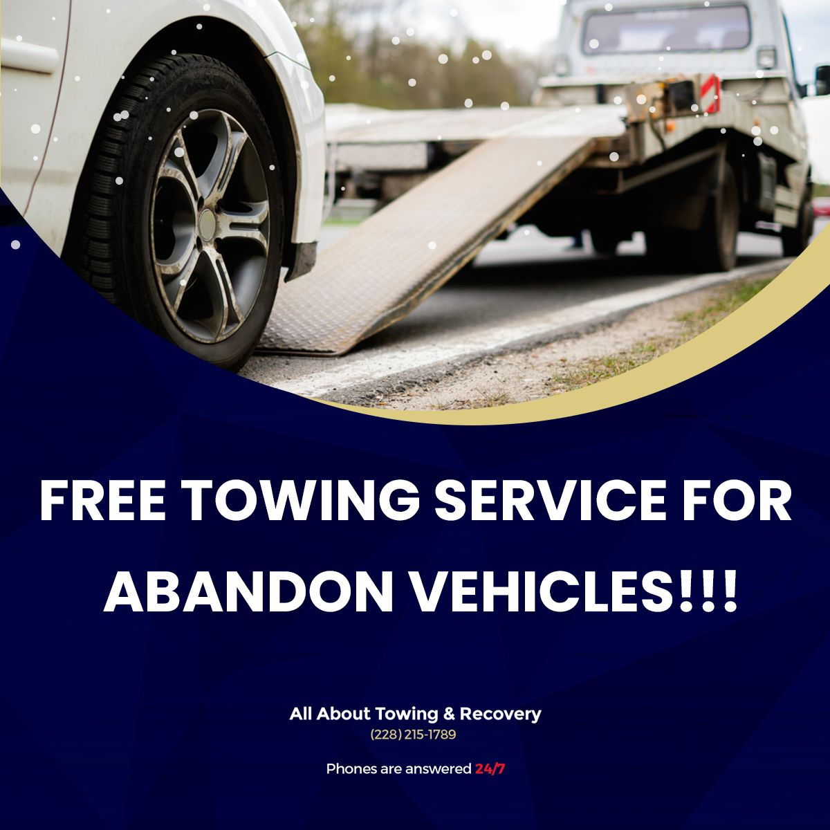 Free towing service for abandon vehicles towing service