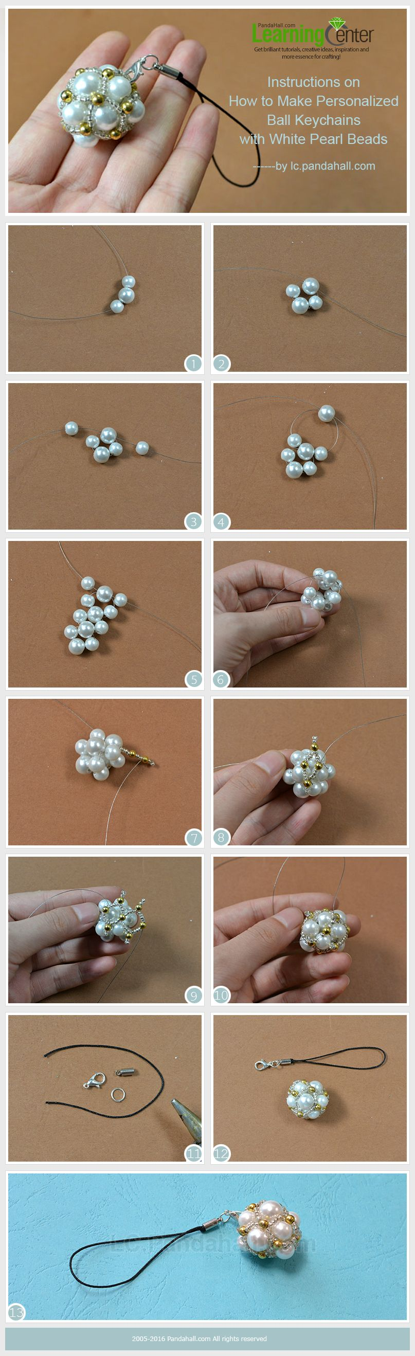 Beads instructions - Instructions On How To Make Personalized Ball Keychains With White Pearl Beads Tutorial Keychain