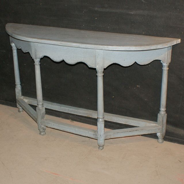 Painted Demi Lune Console Unusual 19th C Painted Demi Lune Console Table.  1840.