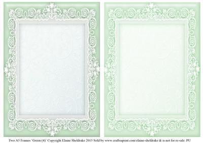 Green 4 Lace Frames 2 x A5 on Craftsuprint - Add To Basket!