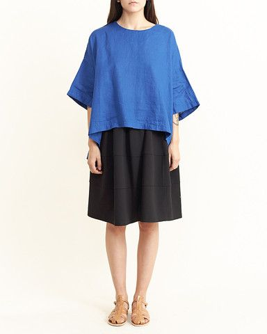 H's Cabinet - Linen Oversized Top in Blue
