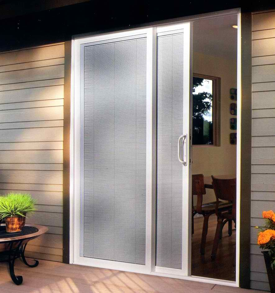 a one sided sliding door with blinds #VinylPatioDoorsMilwaukee ...