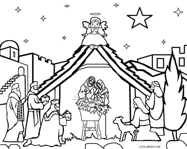 Nativity Scene Coloring Pages Free Christmas Coloring Pages