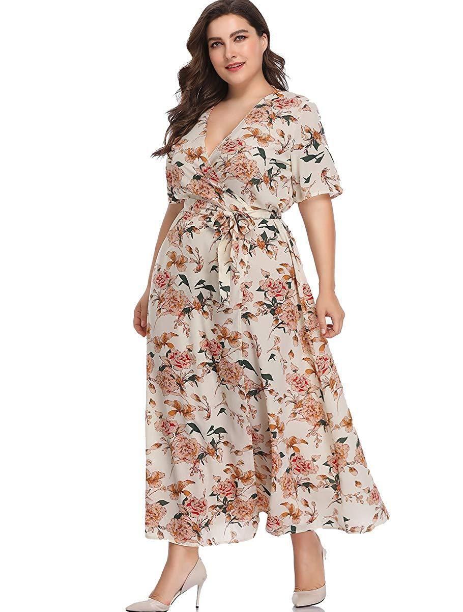 Romwe Women S Plus Size Floral Print Buttons Short Sleeve V Neck Flare Flowy Maxi Dress Flowy Maxi Dress Dresses Maxi Dress [ 1201 x 910 Pixel ]