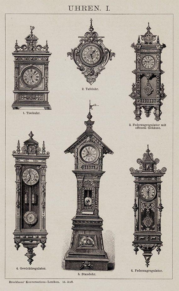 Antique print, 1893 VICTORIAN CLOCKS, old WATCH, Wall clock