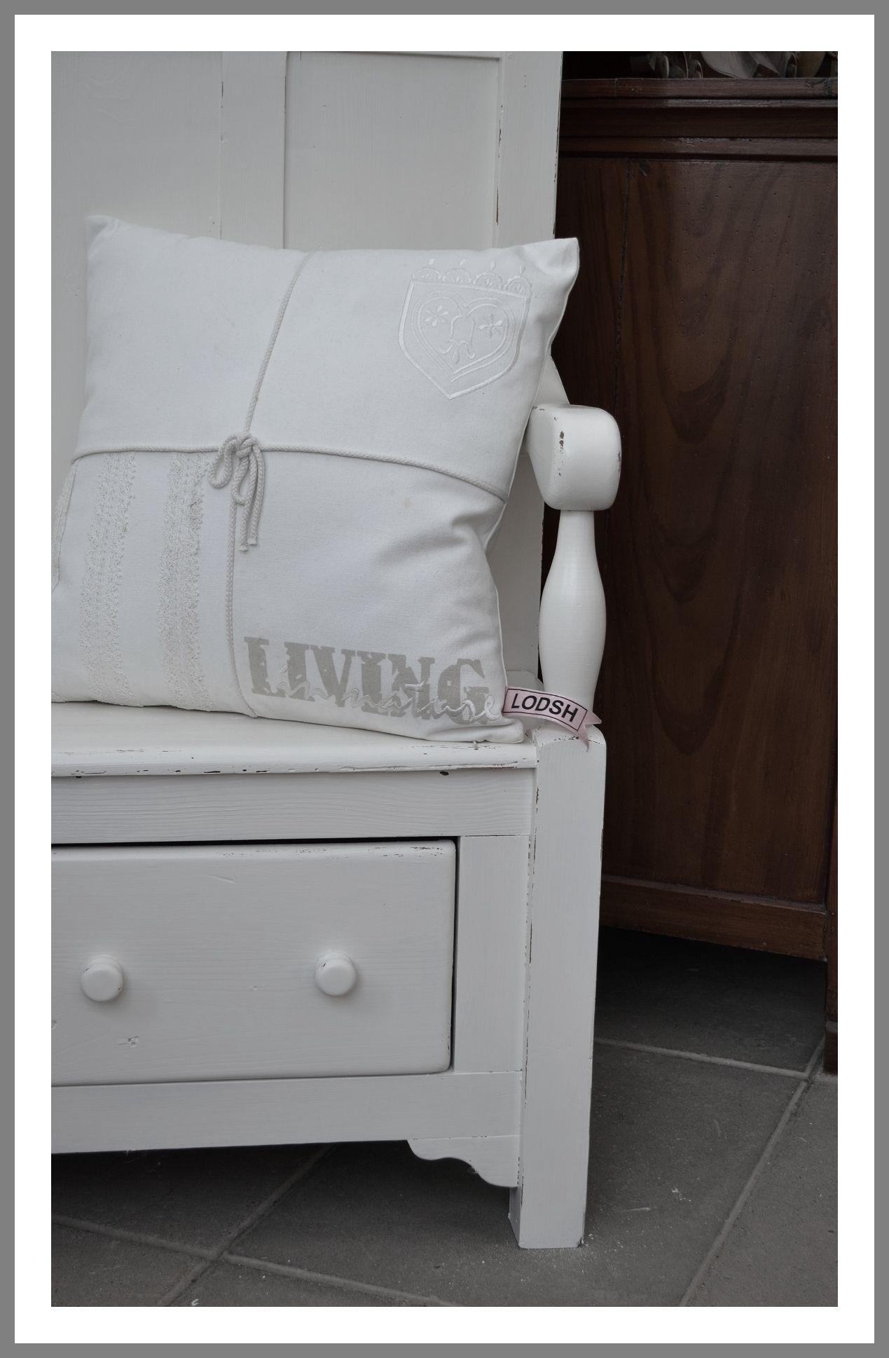 Leuk Wit Halbankje.Mooie Grenen Halbank In Old White 1 Bench With Storage Bed