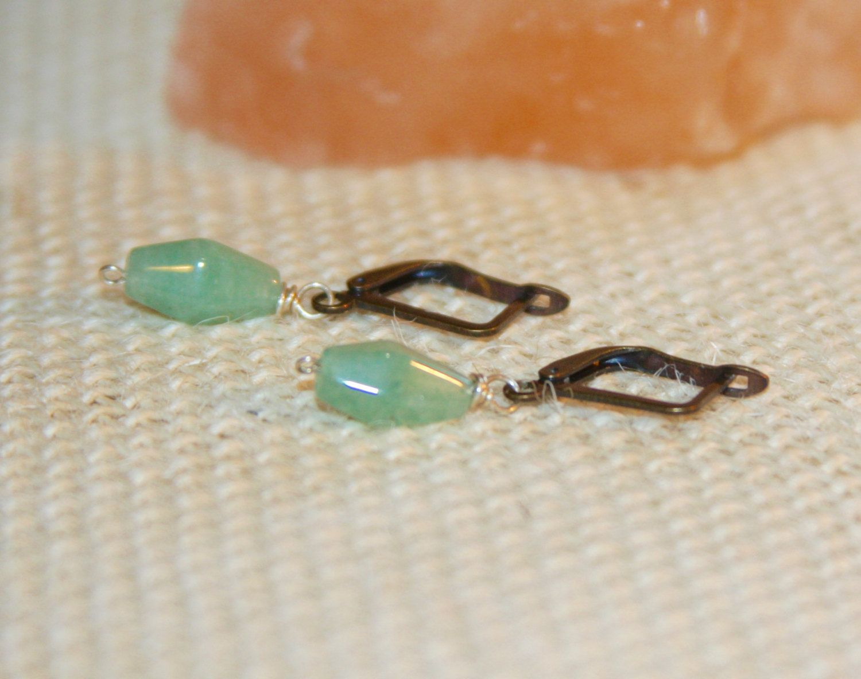Tiny Dangle Earrings Aventurine Lever Back Light Green Drop By Birchbarkdesign On Etsy
