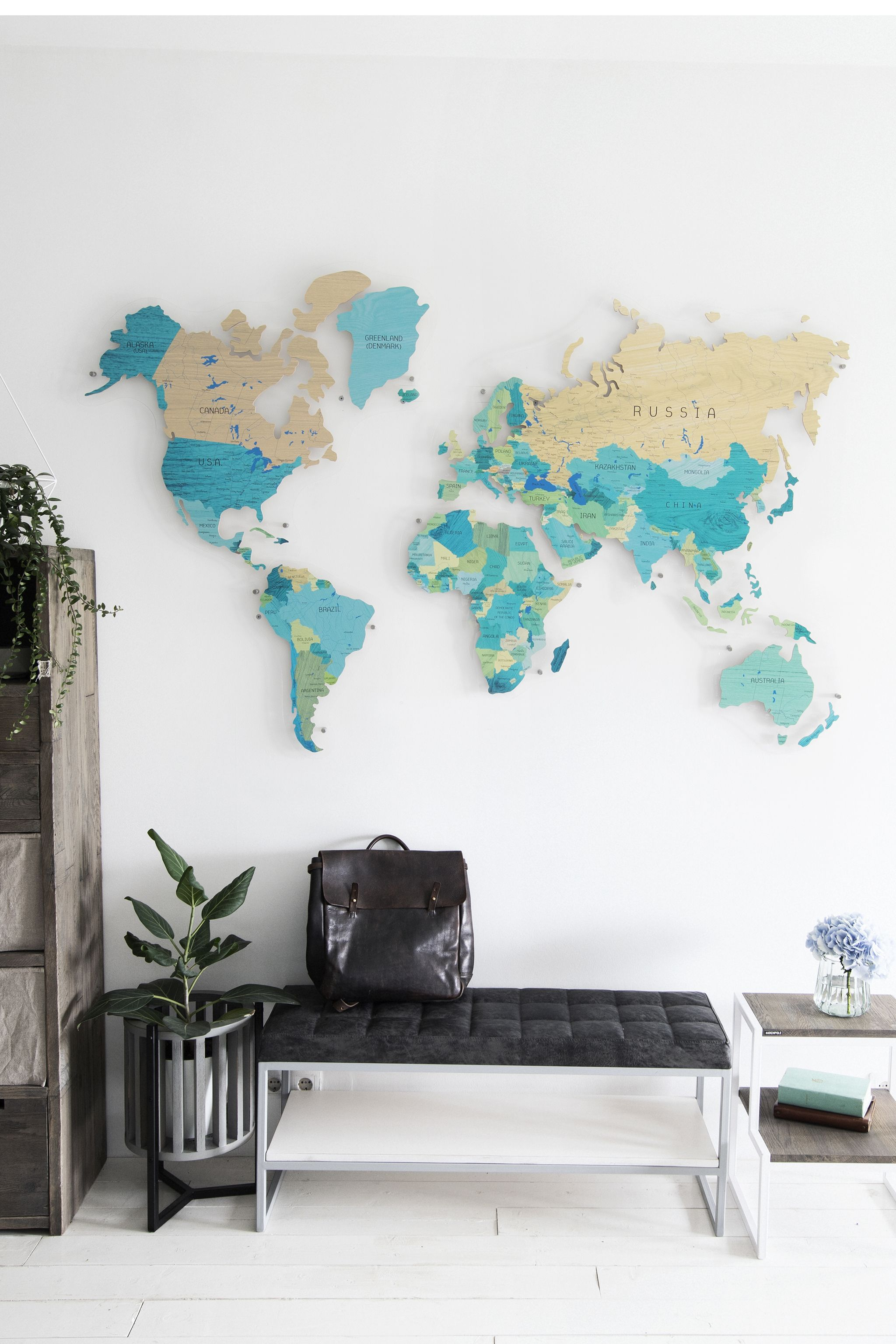 Teal World Map By Gadenmap Push Pin Travel Map For Wall Decor In Office Room Bedroom Living Room Kid S World Map Wall Decor World Map Decor Map Wall Decor
