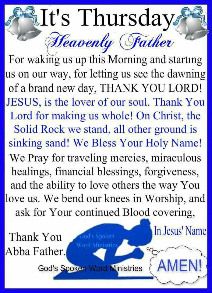 Thursday Blessings! | Thursday morning prayer, Thursday prayer, Morning blessings