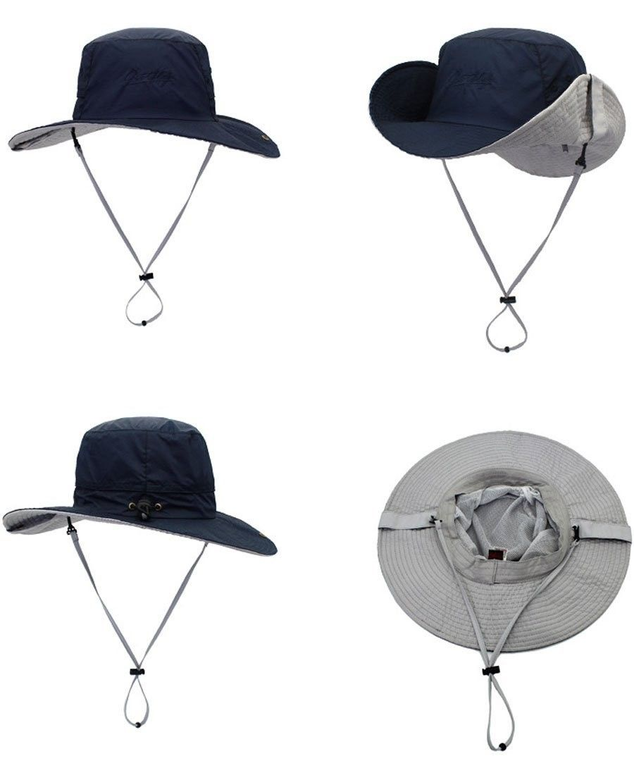 92824c4a002 Windproof Fishing Hats UPF 50+ Wide Brim Sun Protection Hat Outdoor ...