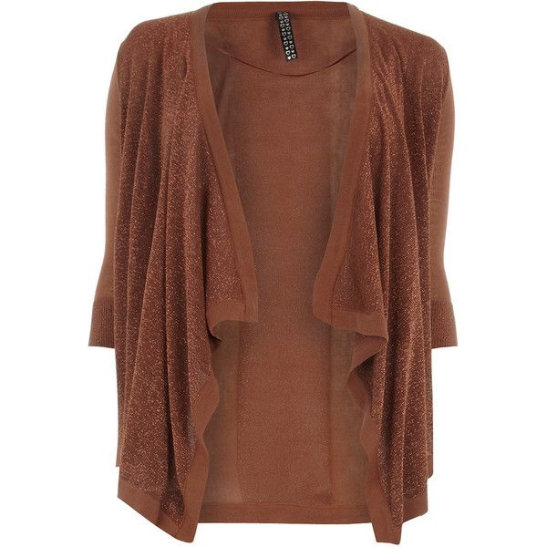 Evans Tobacco Lurex Cardigan - Sale - Offers - evans ❤ liked on ...