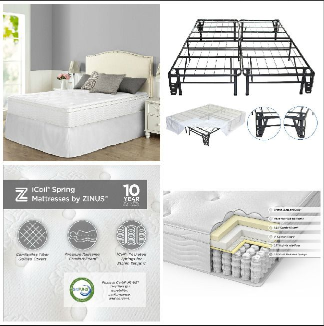 Queen Bed Frame Set 12 Night Therapy Euro Box Top Spring Mattress Bedroom Sleep Nighttherapy With Images Bed Frame Sets
