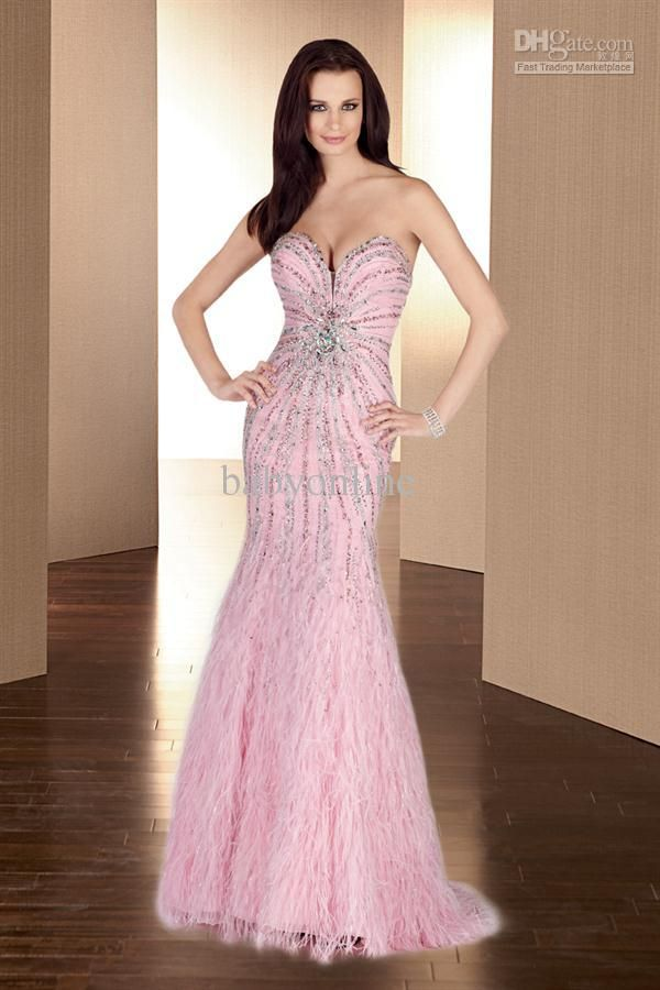 strapless evening dresses sweetheart chiffon pink feather with $280.0-308.0/Piece|DHgate