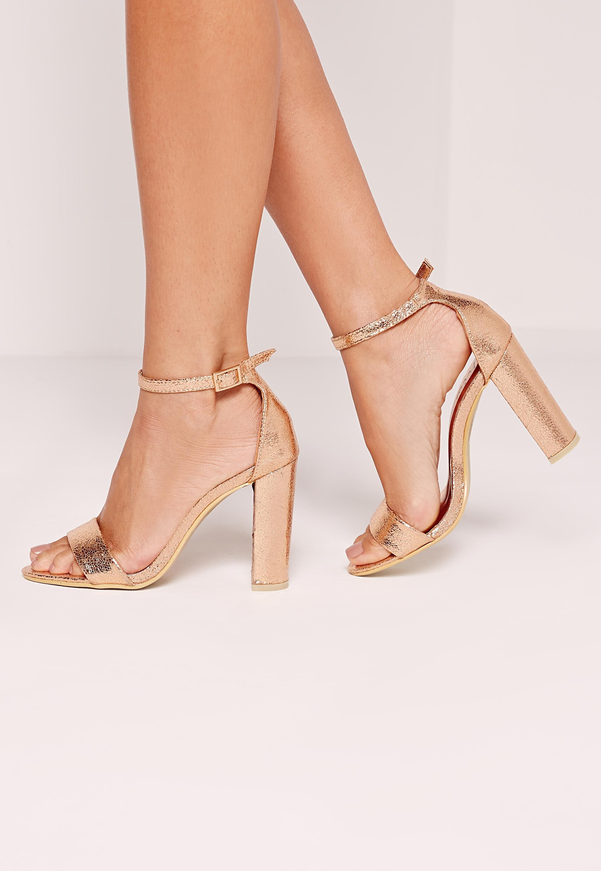 3372b9aaa380 Missguided - Block Heel Barely There Sandals Rose Gold