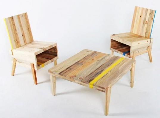Embalaje y palet de mesa y sillas asientos muebles for Sillones de madera reciclada