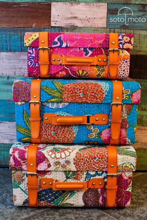 Travel in color! ~ Bohemian suitcases ~ colorful wooden trunk cases covered  with Kantha quilt handcrafted textiles from India. Gives me an idea to  cover a ...