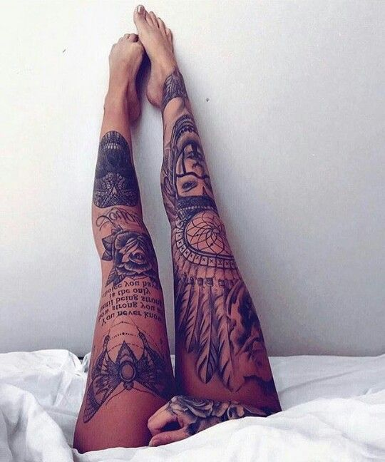Whole Right Leg But With A Wolf In The Indian Headress Tat