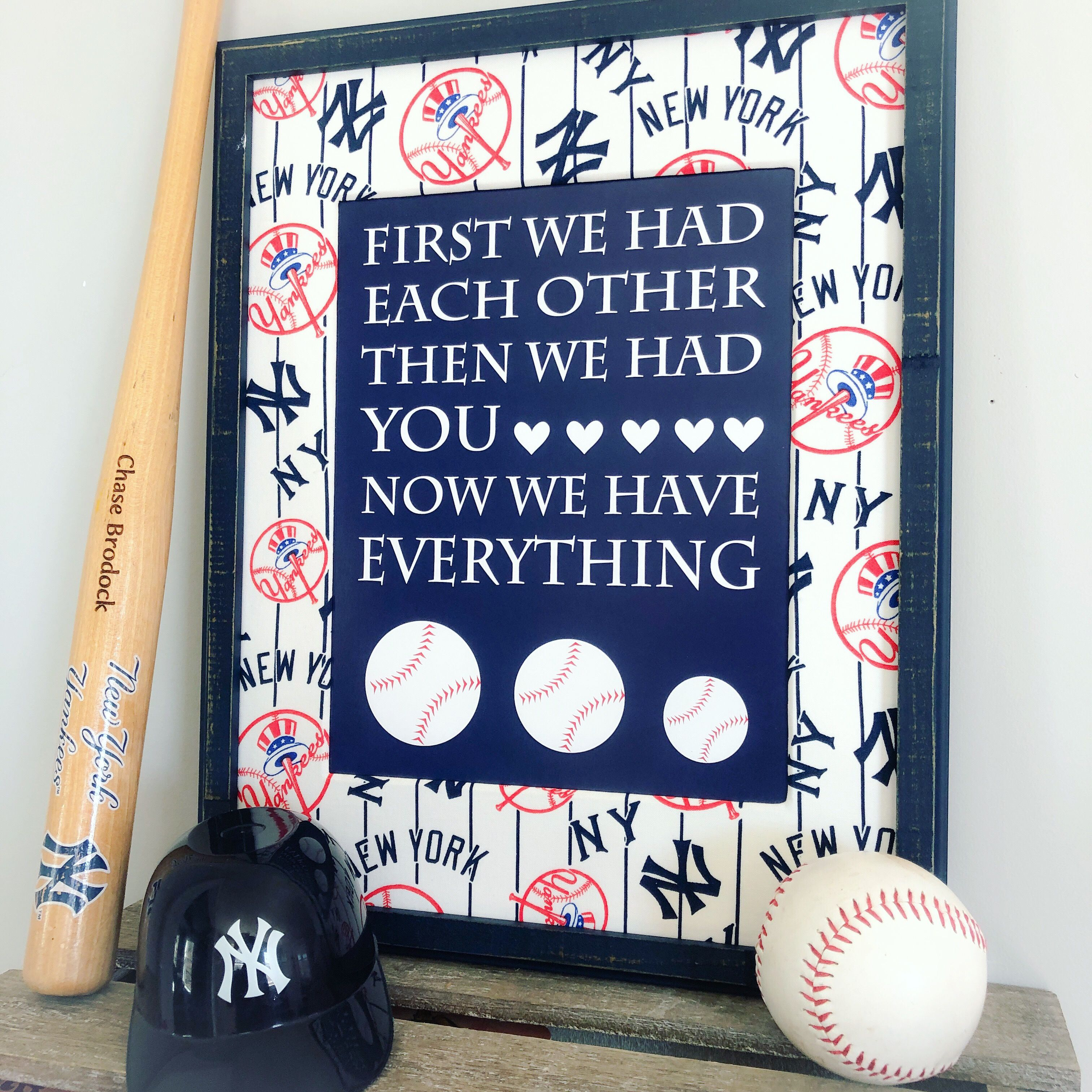 Baby Boy Baseball Nursery Ideas New York Yankees Nursery Decor Sports Nursery New York Yankees Bedroo With Images Baseball Nursery Baseball Nursery Decor Sports Nursery