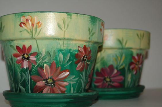 Free Images To Paint On Clay Pots Hand Painted 4 Flower Pots Macetas Pintadas Macetas Decoradas Ideas De Maceta