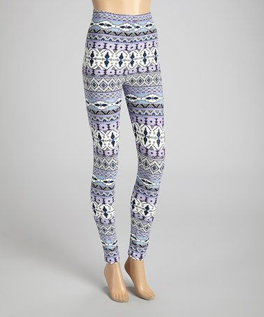 Another great find on #zulily! Purple & White Fair Isle Leggings ...