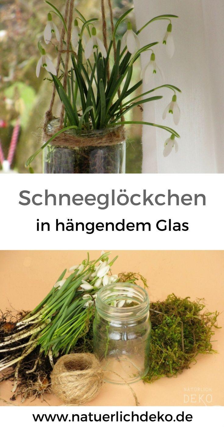 Hänge-Glas mit Schneeglöckchen - Natürlich Deko