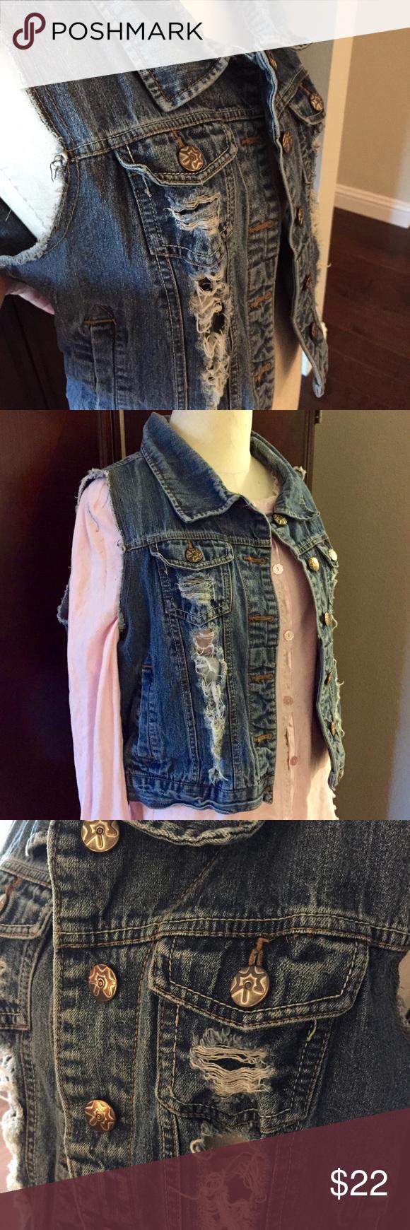 ☀️ Distressed Denim Jean Vest With Holes ☀️ Distressed denim vest. Juniors XL. Nordstrom Jackets & Coats Vests
