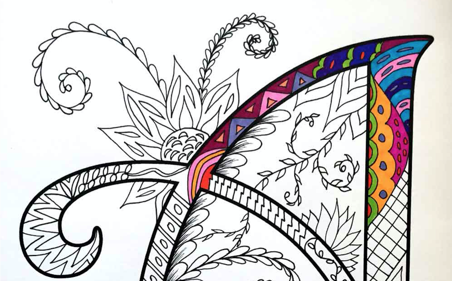 Alphabet Zentangles Coloring Pages