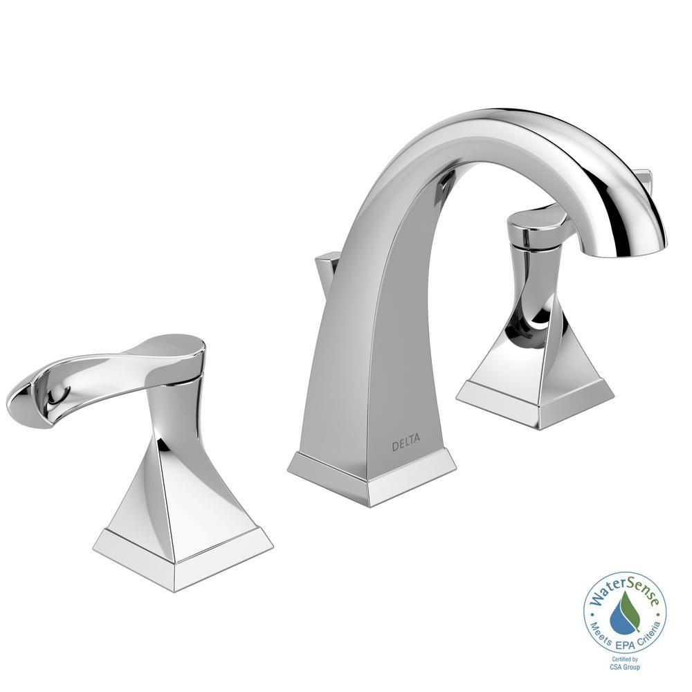 Delta Everly 8 In Widespread 2 Handle Bathroom Faucet In Chrome 35741 Dst The Home Depot Bathroom Faucets Widespread Bathroom Faucet Faucet