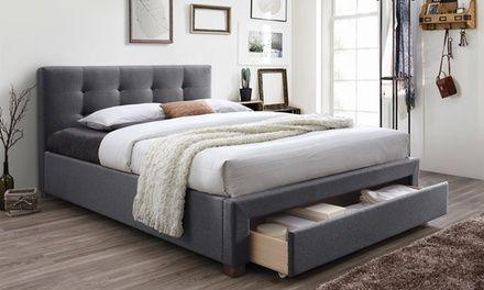 Brandy Fabric Upholstered King Size Storage Platform Bed Bed