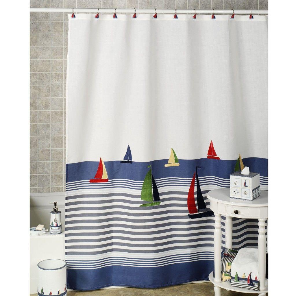 Bathroom Set Ideas With Natural Beach Landscape Shower Curtain Motif ...