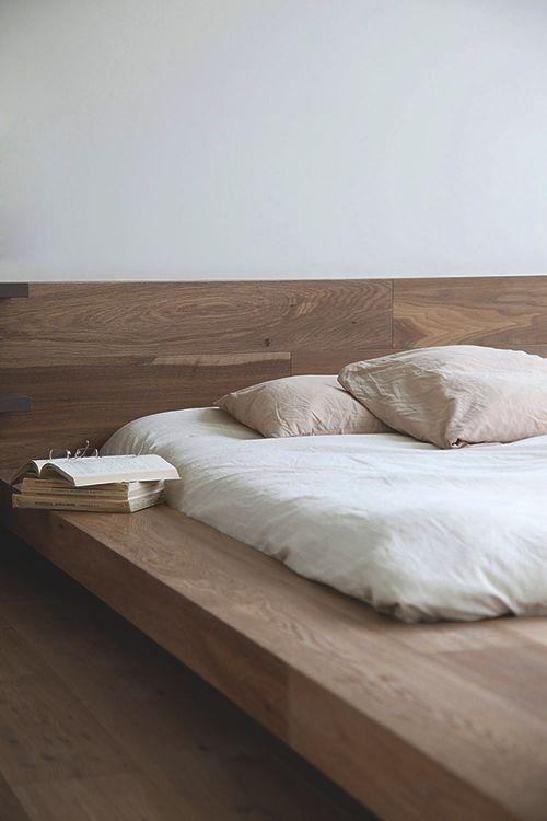 Platform natural wood bed base | camas | Pinterest | Camas, Alcoba y ...