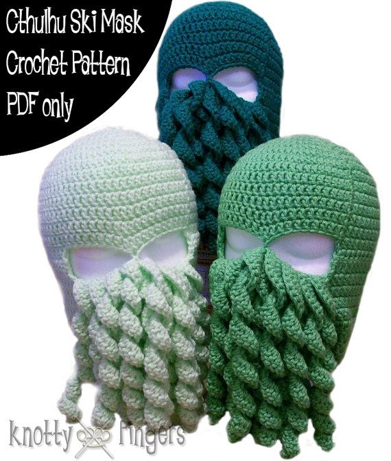 7976a8e7dee Crochet Pattern - Cthulhu Ski Mask - PDF file only Crochet Mask