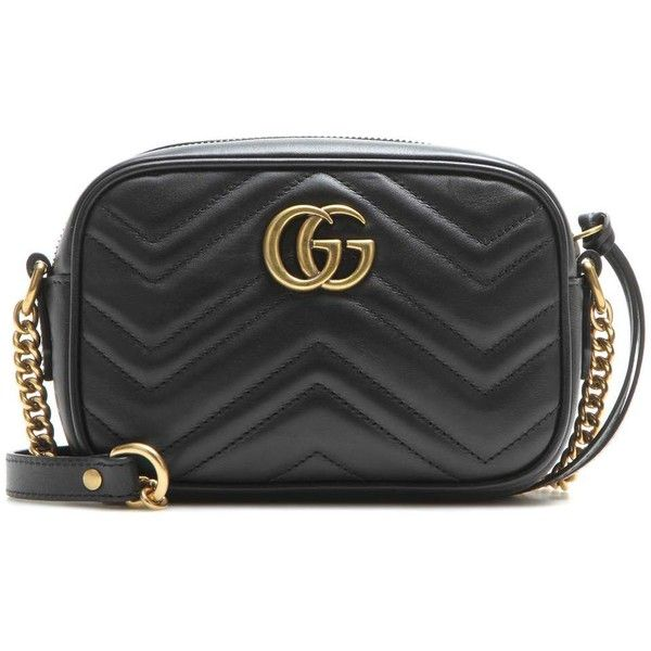 4677500d44b5a8 Gucci GG Marmont Mini Matelassé Leather Crossbody Bag ($980) ❤ liked on  Polyvore featuring bags, handbags, shoulder bags, black, leather crossbody  purses, ...