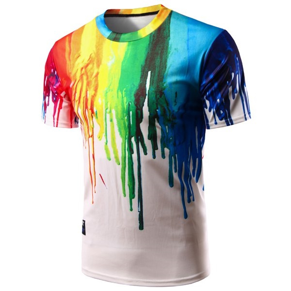 12.16$  Watch here - http://dibup.justgood.pw/go.php?t=176557901 - Casual Pullover Colorful Painting T-Shirt For Men