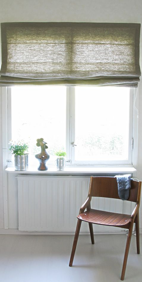 100 natural linen roman blind by ada ina http www. Black Bedroom Furniture Sets. Home Design Ideas