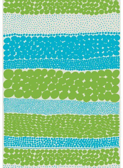 Jurmo-kangas (v.harmaa, turkoosi, vihreä)  Kankaat, Puuvillakankaat   Marimekko