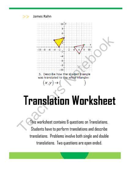 Translation Worksheet From Jamesrahn On Teachersnotebook