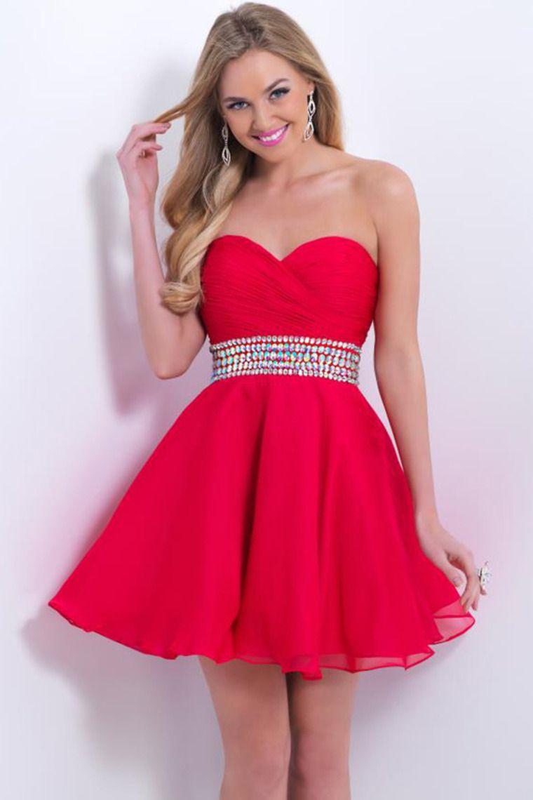 2015 Fancy Sweetheart Short/Mini A Line/Princess Homecoming Dress Chiffon With Ruffles And Rhintstones USD 119.99 LDPBT9K499 - LovingDresses.com for mobile