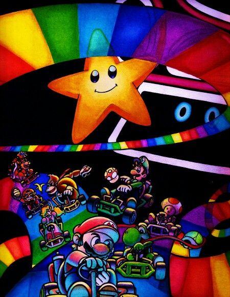 Mario Kart 64 Rainbow Road Mario Yoshi Luigi Toad