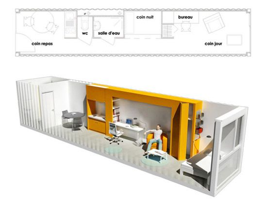 Olgga architectes 39 crou 39 100 recycled container student for Maison container 30m2
