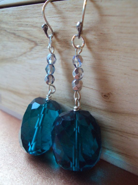 Glamorous Aqua Glass Drop Earrings