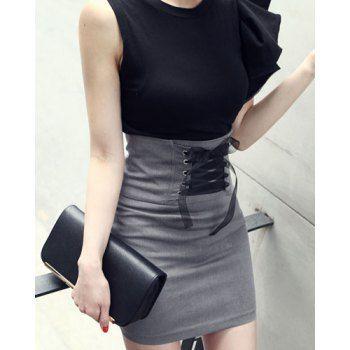 414acc02a Falda de talle alto que adelgazan con cordones de Diseño de la Mujer ...
