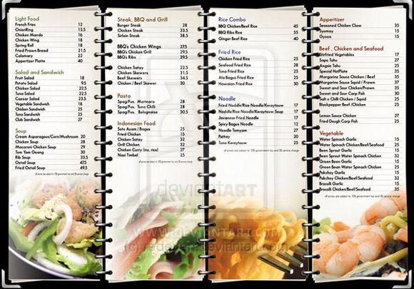 Ideas dise o cartas menus restaurantes ejemplos minutas for Articulos para restaurantes